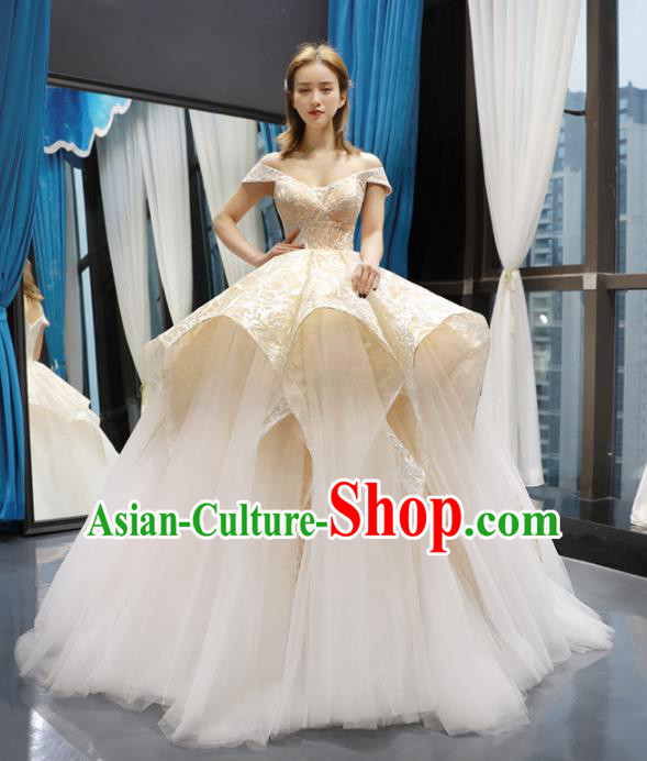 Top Grade Champagne Wedding Gown Bride Costume Veil Trailing Full Dress Princess Dress for Women