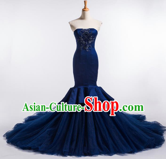 Top Grade Compere Navy Veil Fishtail Full Dress Princess Embroidered Wedding Dress Costume for Women