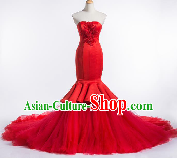 Top Grade Compere Red Veil Fishtail Full Dress Princess Embroidered Wedding Dress Costume for Women