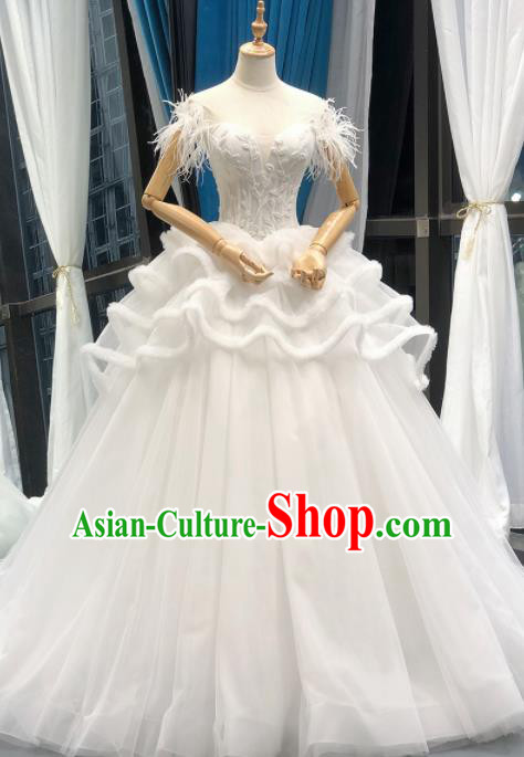 Top Grade Trailing White Veil Wedding Gown Bride Costume Full Dress Princess Dress for Women