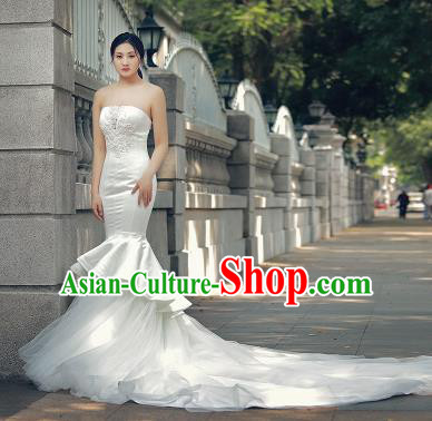 Top Grade Wedding Gown Bride Costume White Veil Fishtail Trailing Full Dress Princess Dress for Women