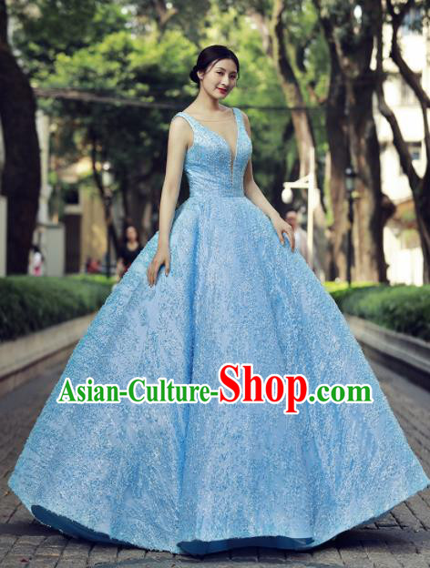 Top Grade Compere Blue Paillette Bubble Full Dress Princess Embroidered Wedding Dress Costume for Women