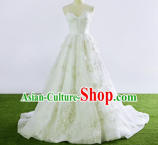 Top Grade Compere White Veil Bubble Full Dress Princess Embroidered Wedding Dress Costume for Women