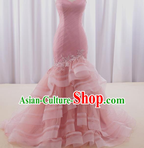 Top Grade Compere Pink Veil Fishtail Full Dress Princess Embroidered Wedding Dress Costume for Women