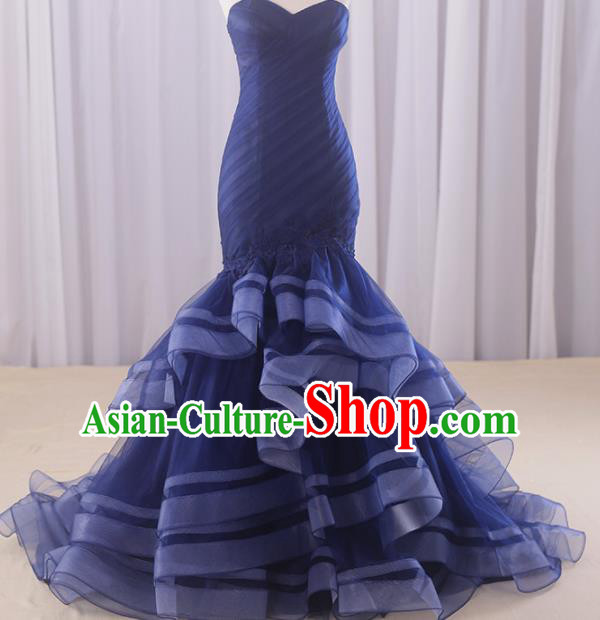 Top Grade Compere Royalblue Veil Fishtail Full Dress Princess Embroidered Wedding Dress Costume for Women