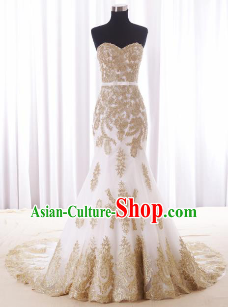 Top Grade Wedding Gown Bride Costume White Veil Fishtail Full Dress Princess Dress for Women