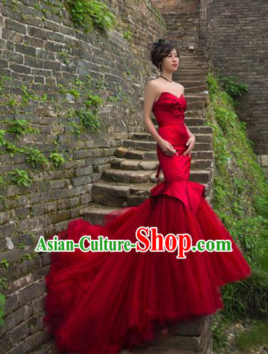 Top Grade Compere Red Veil Fishtail Trailing Full Dress Princess Embroidered Wedding Dress Costume for Women