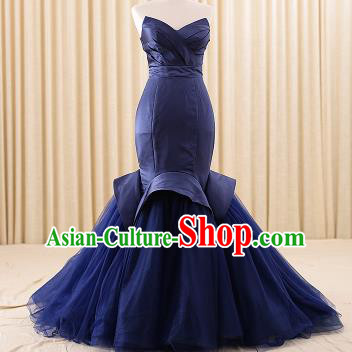 Top Grade Compere Navy Veil Fishtail Trailing Full Dress Princess Embroidered Wedding Dress Costume for Women