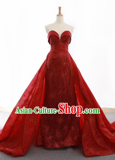 Top Grade Compere Wine Red Veil Trailing Full Dress Princess Embroidered Wedding Dress Costume for Women