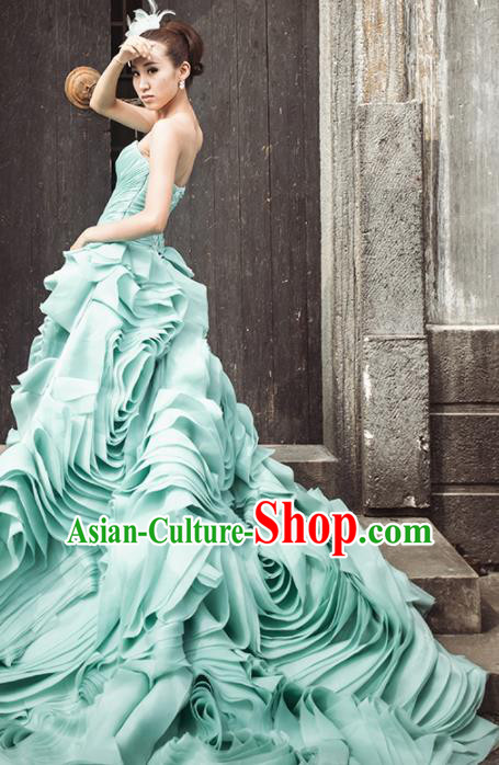 Top Grade Compere Green Rose Full Dress Princess Trailing Wedding Dress Costume for Women