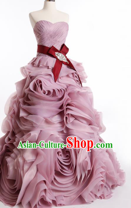 Top Grade Compere Pink Rose Full Dress Princess Trailing Wedding Dress Costume for Women