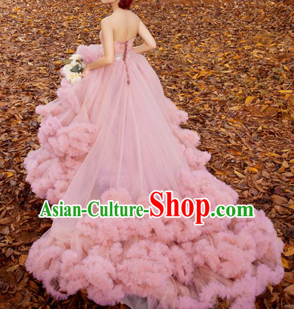 Top Grade Compere Pink Veil Full Dress Princess Trailing Wedding Dress Costume for Women