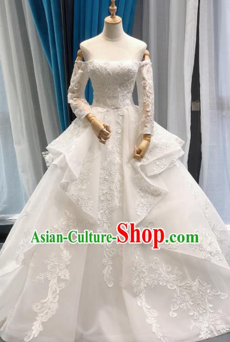 Top Grade Embroidered Wedding Gown Bride Costume White Bubble Full Dress Princess Dress for Women