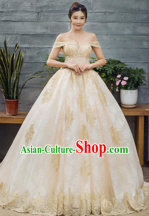 Top Grade Wedding Gown Bride Costume Golden Veil Trailing Full Dress Princess Dress for Women