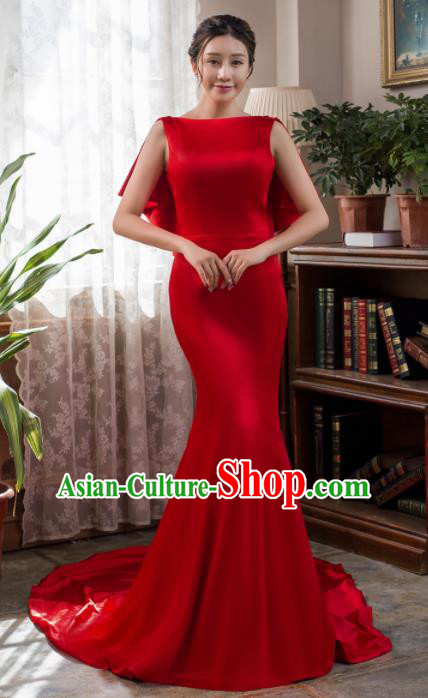 Top Grade Compere Red Satin Fishtail Full Dress Princess Wedding Dress Costume for Women