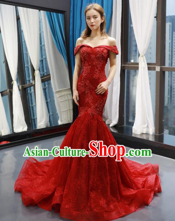 Top Grade Compere Red Trailing Full Dress Princess Fishtail Wedding Dress Costume for Women