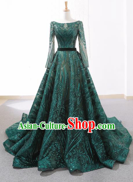 Top Grade Compere Embroidered Green Veil Full Dress Princess Trailing Wedding Dress Costume for Women