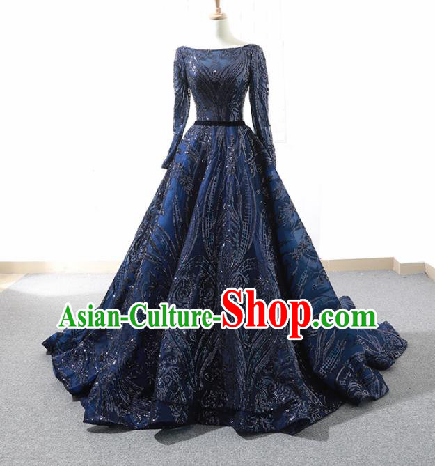 Top Grade Compere Embroidered Royalblue Veil Full Dress Princess Trailing Wedding Dress Costume for Women