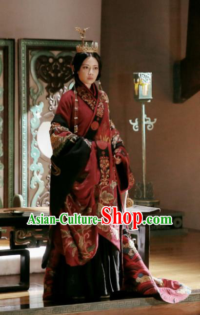 Chinese Drama The Lengend of Haolan Historical Costume Ancient Warring States Period Imperial Consort Hanfu Dress and Headpiece for Women