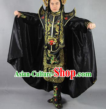 Chinese Traditional Sichuan Opera Embroidered Black Cloak and Costume Face Changing Clothing Complete Set for Men