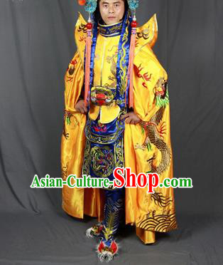 Chinese Traditional Sichuan Opera Embroidered Golden Cloak and Costume Face Changing Clothing Complete Set for Men