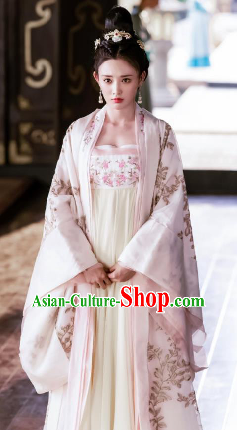 Traditional Chinese Tang Dynasty Princess Consort Hanfu Dress Ancient Drama Queen Embroidered Costume and Headpiece Complete Set