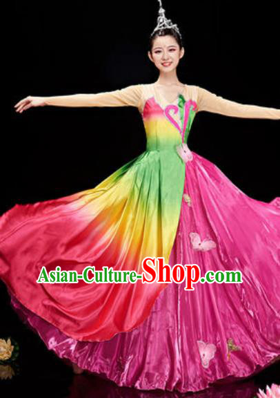 Chinese National Classical Dance Lotus Dance Rosy Costume Traditional Umbrella Dance Dress for Women