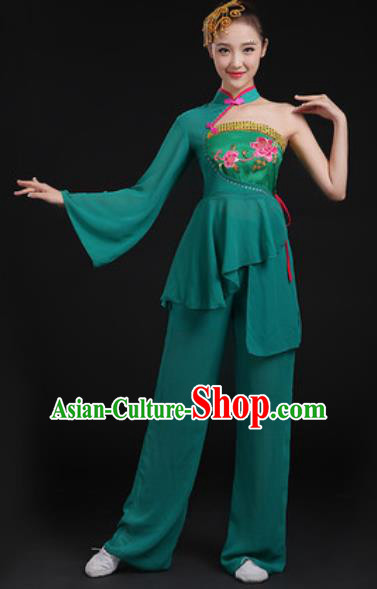 Chinese National Folk Dance Deep Green Costume Traditional Yangko Dance Fan Dance Clothing for Women