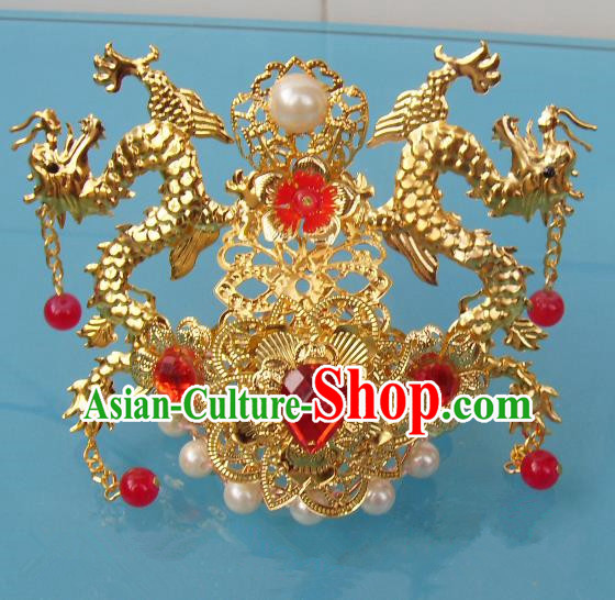 Chinese Traditional God of Wealth Hair Accessories Ancient Prince Red Crystal Dragon Hairdo Crown for Men