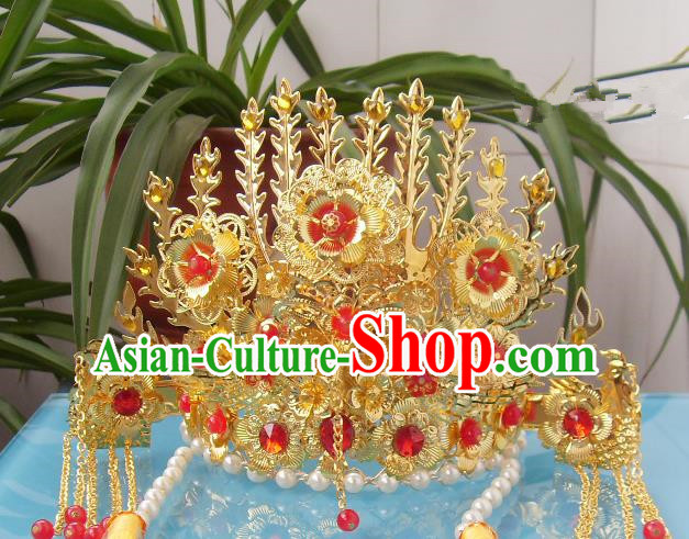 Chinese Traditional Goddess Hair Accessories Ancient Yellow Crystal Phoenix Coronet for Women