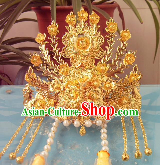 Chinese Traditional Goddess Golden Phoenix Coronet Hairpins Ancient Princess Hair Accessories for Women