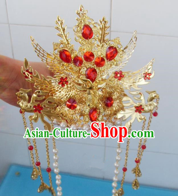 Chinese Traditional Goddess Red Crystal Phoenix Coronet Hairpins Ancient Princess Hair Accessories for Women