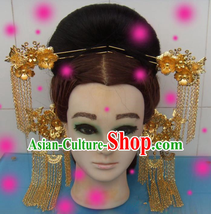 Chinese Traditional Goddess Golden Tassel Step Shake Hairpins Ancient Queen Hair Accessories for Women