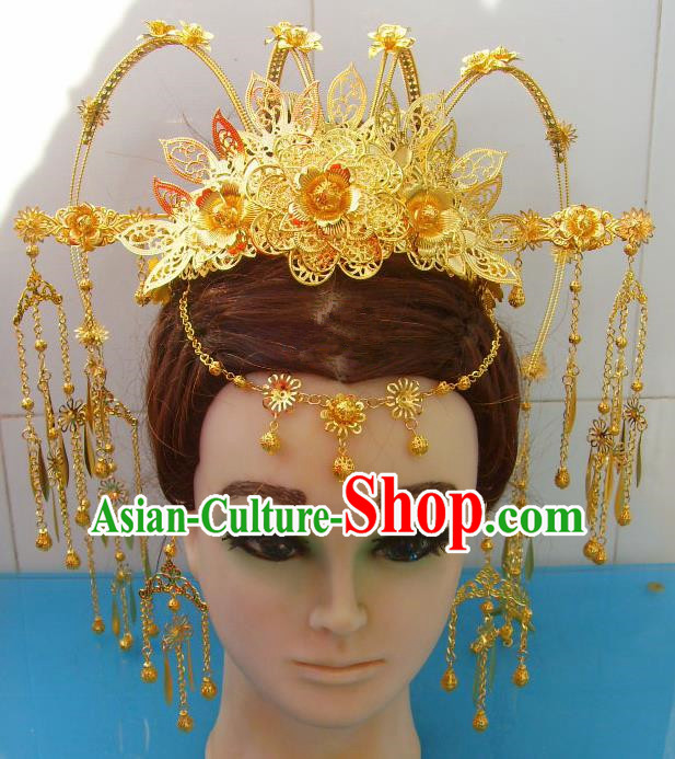 Chinese Traditional Goddess Hairpins Golden Peony Phoenix Coronet Ancient Bride Hair Accessories for Women