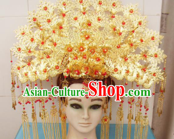 Chinese Traditional Goddess Hairpins Red Beads Tassel Phoenix Coronet Ancient Bride Hair Accessories for Women