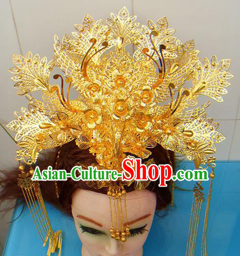 Chinese Traditional Goddess Golden Tassel Hairpins Phoenix Coronet Ancient Bride Hair Accessories for Women