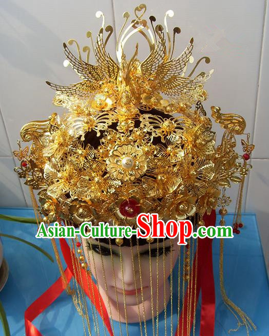Chinese Traditional Goddess Phoenix Coronet Ancient Bride Hair Accessories for Women