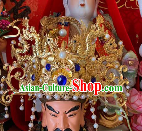 Chinese Traditional God of Wealth Hair Accessories Ancient Golden Phoenix Coronet for Men