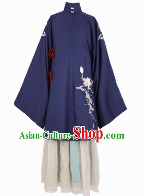 Chinese Traditional Navy Hanfu Dress Ancient Ming Dynasty Princess Embroidered Costume for Women