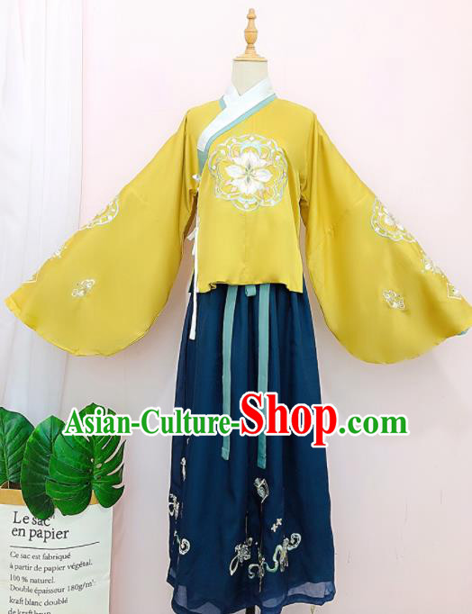 Chinese Traditional Navy Hanfu Dress Ancient Ming Dynasty Palace Princess Embroidered Costume for Women