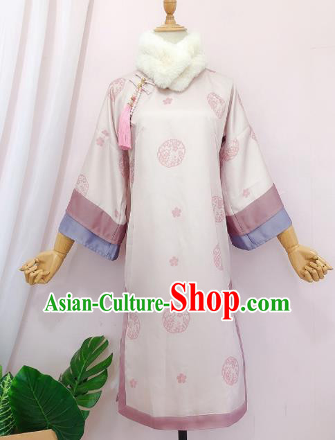 Chinese Traditional Hanfu Dress Ancient Qing Dynasty Manchu Palace Princess Embroidered Costume for Women
