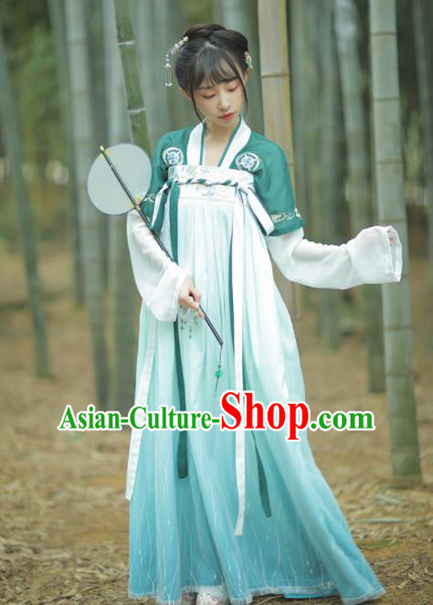 Chinese Traditional Tang Dynasty Court Maid Hanfu Dress Ancient Peri Embroidered Costume for Women