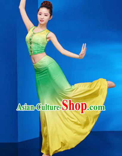 Chinese Traditional Ethnic Folk Dance Green Dress Dai Nationality Peacock Dance Costume for Women
