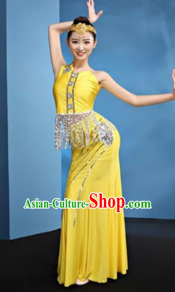 Chinese Traditional Ethnic Folk Dance Yellow Dress Dai Nationality Peacock Dance Costume for Women