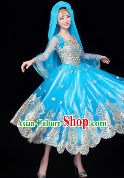 Chinese Traditional Ethnic Folk Dance Blue Dress Uyghur Nationality Dance Costume for Women