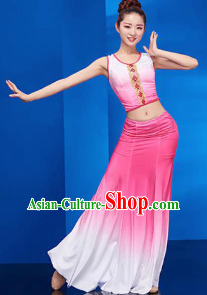 Chinese Traditional Ethnic Folk Dance Pink Dress Dai Nationality Peacock Dance Costume for Women