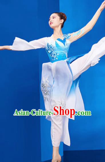 Chinese National Umbrella Dance Blue Dress Traditional Classical Dance Costume for Women