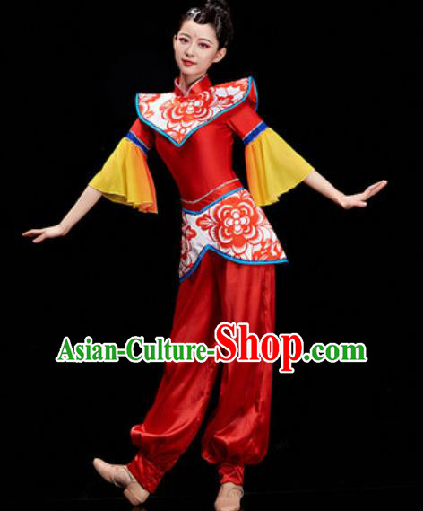 Chinese National Drum Dance Folk Dance Red Costume Traditional Yangko Dance Clothing for Women