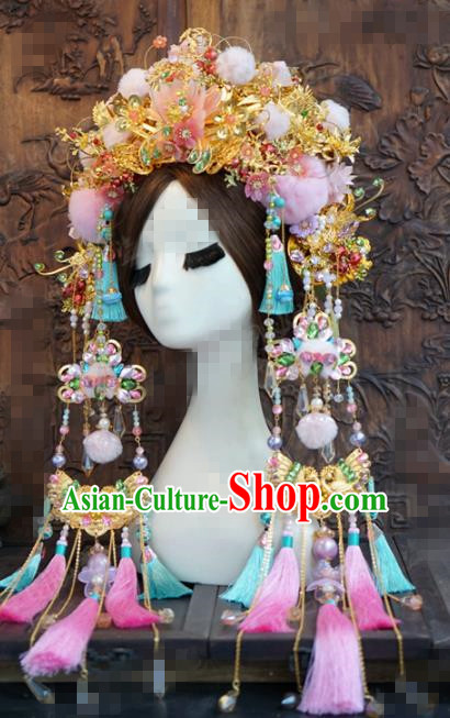 Chinese Traditional Handmade Hair Accessories Ancient Queen Luxury Phoenix Coronet Headwear for Women
