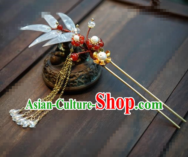 Chinese Traditional Hair Accessories Ancient Bride Bamboo Hairpins Handmade Tassel Step Shake Headwear for Women